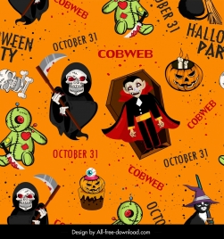 halloween pattern template repeating horror characters decor