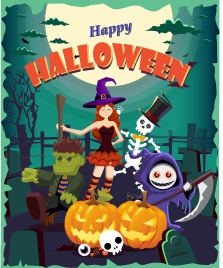 halloween poster design cute witch and emblems
