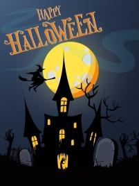 halloween poster moonlight scary darkness scene decoration