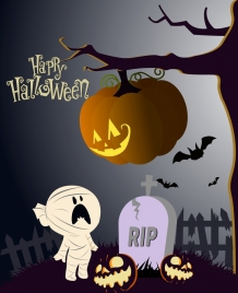 halloween poster pumpkin tree ghost icons decoration
