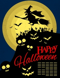 halloween poster wizard skull tombs icons silhouette style