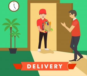 hand delivery concept multicolors cartoon style design
