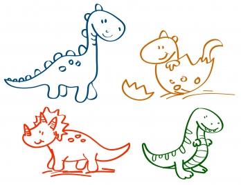 hand drawn cartoon dinosaur collection