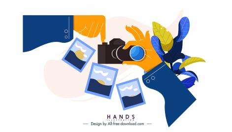 hand gesture icon camera application sketch
