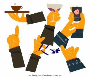 hand gesturing icons action sketch colored flat handdrawn