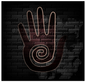 hand print brick wall background