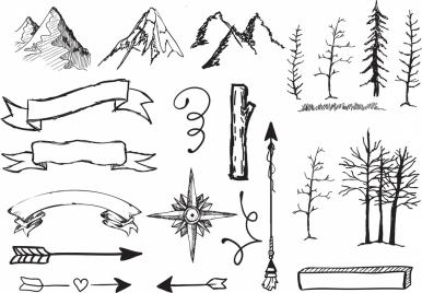 handdrawn icons ribbon mount tree arrow sketch