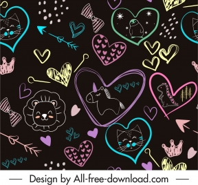 handdrawn pattern colorful flat hearts animals arrows sketch