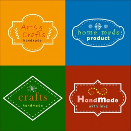 handmade logo sets various shapes classical style