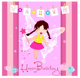 happy birthday card with cute fairy