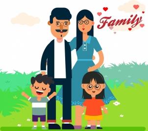 happy family background cartoon characters decor