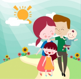 happy family background parents children icons cartoon characters