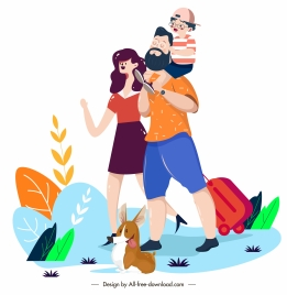 happy family painting vacation theme cartoon characters sketch