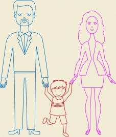 happy family theme outline colorful flat design