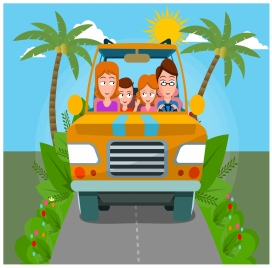 happy family traveling in car drawing with colors