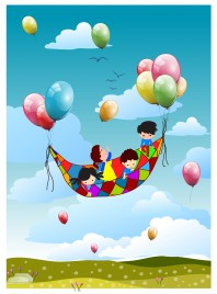 happy kid fly with balloon