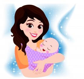 happy mother cradling baby