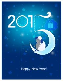 Happy New Year 2015  Original Christmas card  Sheep fishing