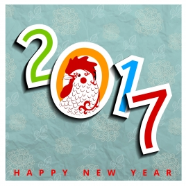 happy new year 2017 chicken year asian vintage design
