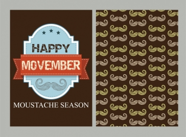happy november banner mustached repeating background
