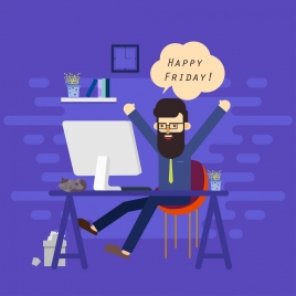 happy time banner relaxing man icon cartoon design