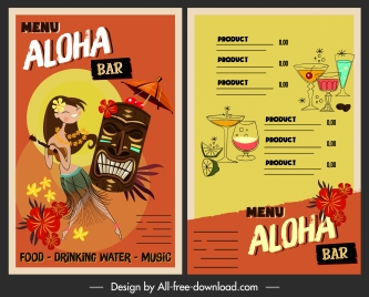 hawai drink menu template colorful classic decor