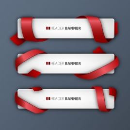 header banner sets with red ribbons coverings design