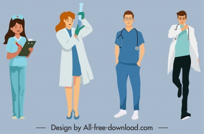 health care work icons cartoon characters sketch