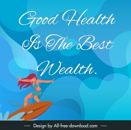 health quotation banner template dynamic surfing girl sketch
