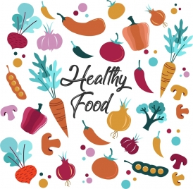 healthy food background multicolored icons decor