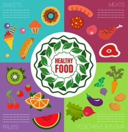 healthy food banner cakes meats fruits vegetables icons