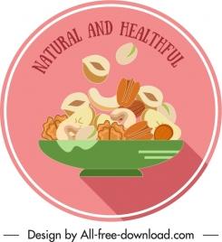healthy food label nuts sketch classic dynamic flat