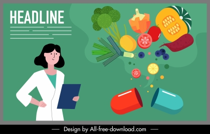 healthy food poster cartoon character colorful dynamic design