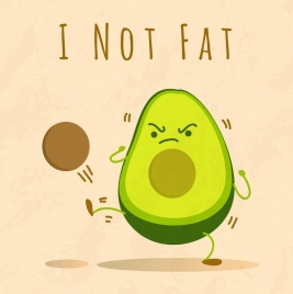 healthy fruit banner cute stylized avocado icon decor