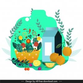 healthy life background fruit juice vegetables tree sketch