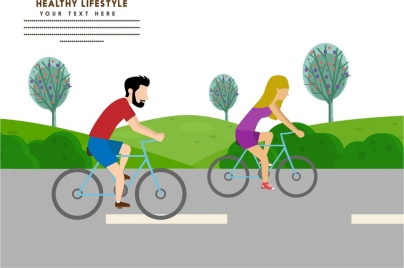 healthy lifestyle banner design human and cycling sports