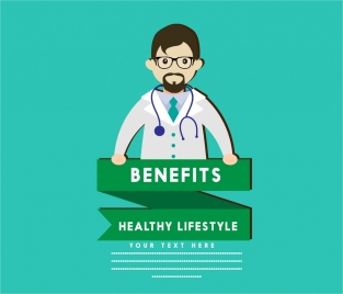 healthy lifestyle banner doctor icons on blue background
