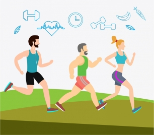 healthy lifestyle banner health icons and human design