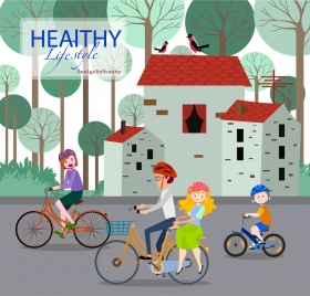 healthy lifestyle banner human riding bicycle colored design