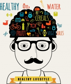 healthy lifestyle banner man brain food icons decor