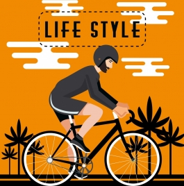 healthy lifestyle banner man riding bicycle colored cartoon