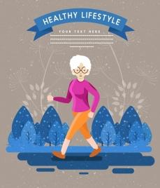 healthy lifestyle banner old woman walking cartoon design