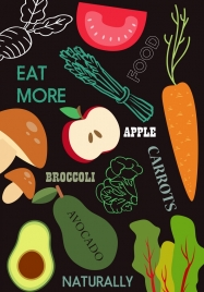 healthy lifestyle banner vegetables fruits icons decor