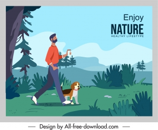 healthy lifestyle banner walking man nature scenery sketch