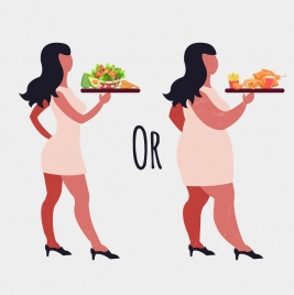 healthy lifestyle banner woman food icon contrasted design