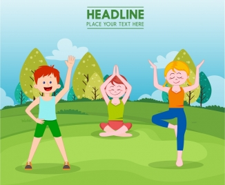 healthy lifestyle banner young people exercising colored cartoon