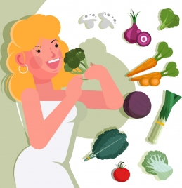 healthy lifestyle banner young woman vegetables icons decor
