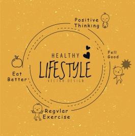 healthy lifestyle concept infographic flat retro circle decor