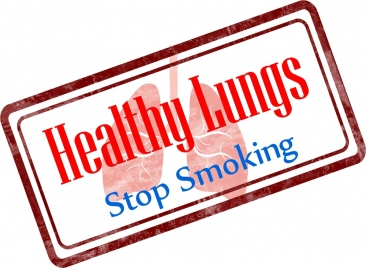 healthy lifestyle stamp no smoking with lungs design