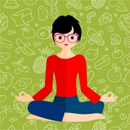 healthy lifestyle theme female meditation on food background